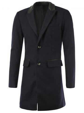 Best Faux Leather Splicing Lapel Single-Breasted Wool Coat