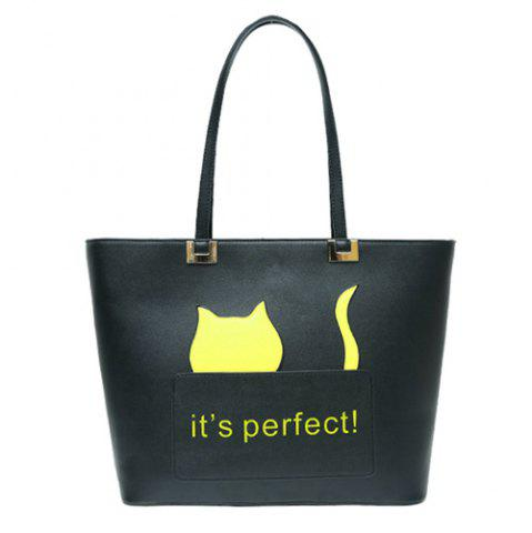 Online PU Leather Cat Letter Print Shoulder Bag