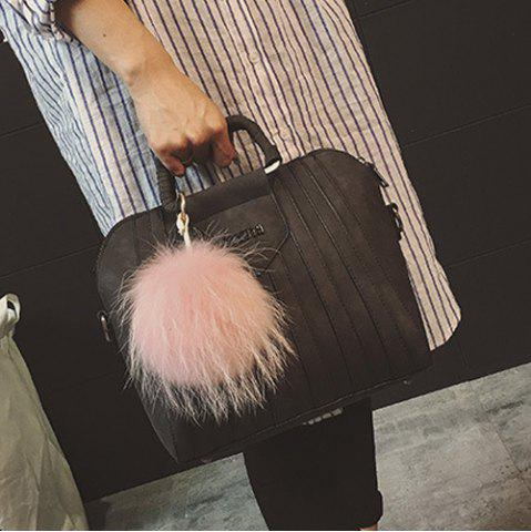 Online Letter Pompon PU Leather Handbag