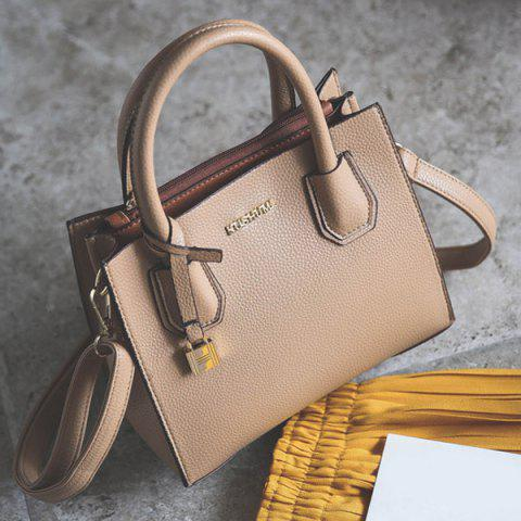 Letter Textured PU Leather Handbag - Apricot - Horizontal