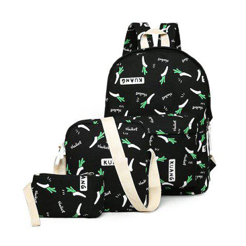Foods Printed Canvas Backpack Noir