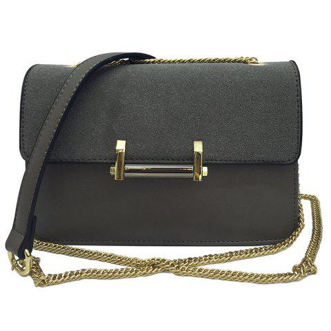 Metal Chains Suede Spliced Crossbody Bag - GRAY