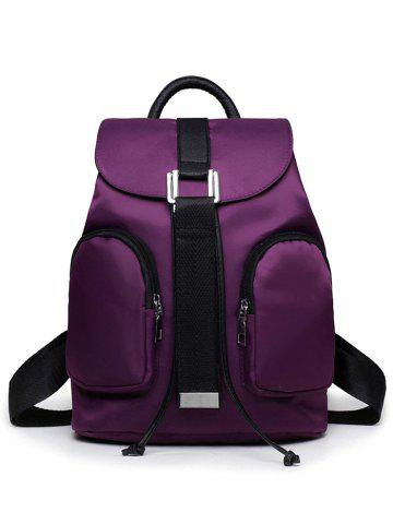 Latest Casual Nylon Front Pocket Backpack - PURPLE  Mobile