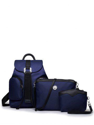 Unique Casual Nylon Front Pocket Backpack - CADETBLUE  Mobile