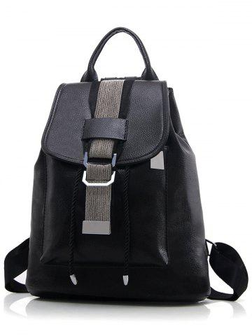 Cheap Strap PU Leather Metal Embellished Backpack - BLACK  Mobile