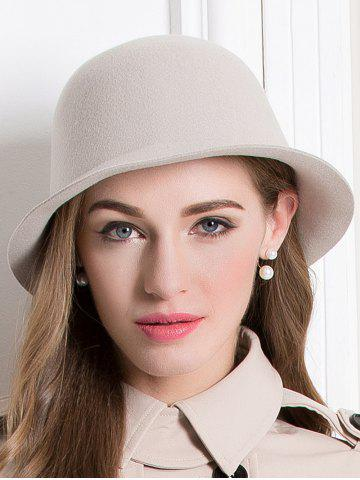 Chic Floppy Wool Crown Bowler Hat APRICOT