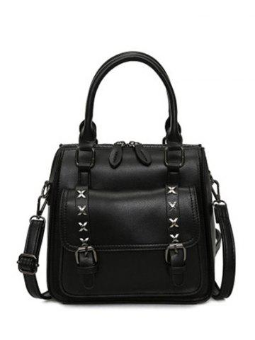 Outfit PU Leather Criss-Cross Double Buckles Handbag BLACK