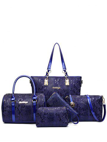 Affordable Emossed Metallic Letter Shoulder Bag BLUE