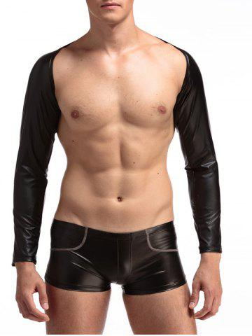 Unique PU-Leather Long Sleeve Cappa - 2XL BLACK Mobile