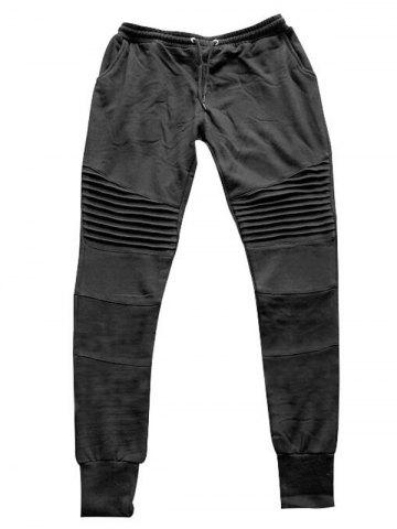 Pleats Design Beam Feet Biker Jogger Pants - Black - M