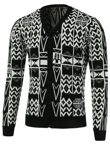 Buy Geometric Pattern V-Neck Single-Breasted Cardigan