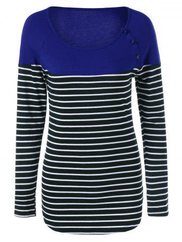 New Button Decorated Striped T-Shirt