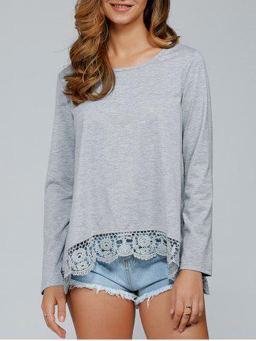Affordable Lace Patchwork T-Shirt GRAY L