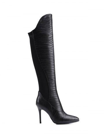 Cheap Splicing Ruched Pointed Toe Thigh Boots