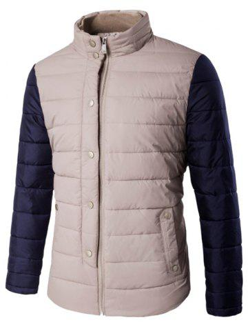 Snap Button Zip Up Stand Collar Two Tone Quilted Jacket - Khaki - 5xl
