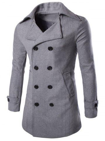 Half Back Belt Sleeve-tab Cuff Longline Pea Coat - Gray - L