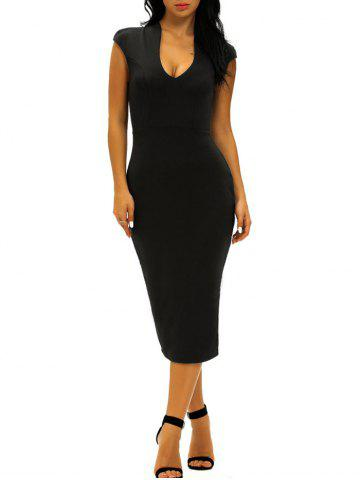 Affordable Low Cut Midi Bodycon Evening Dress