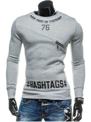 Cheap Zipper Embellished 76 Graphic Print Crew Neck Long Sleeve Sweatshirt - M LIGHT GRAY Mobile