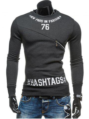 Store Zipper Embellished 76 Graphic Print Crew Neck Long Sleeve Sweatshirt - L DEEP GRAY Mobile