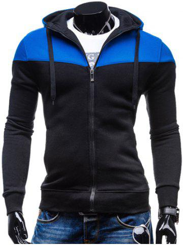 Outfits Color Block Splicing Design Hooded Long Sleeve Zip-Up Hoodie BLUE AND BLACK M