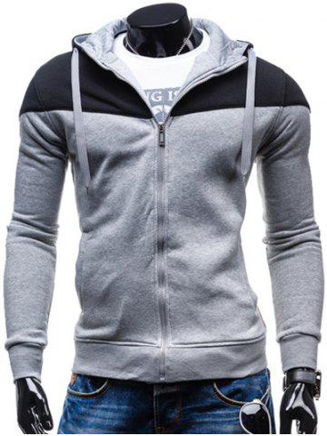 Discount Color Block Splicing Design Hooded Long Sleeve Zip-Up Hoodie BLACK AND GREY XL