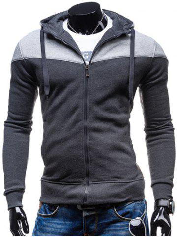 Shops Color Block Splicing Design Hooded Long Sleeve Zip-Up Hoodie