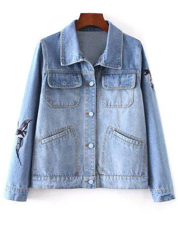 Best Bird Embroidered Button Up Denim Jacket