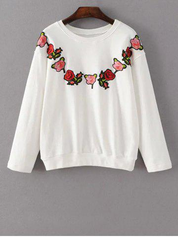 Sale Flower Embroidered Sweatshirt WHITE L