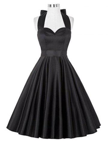 Retro Ruched Hem Halter Swing Prom Dress - Black - S
