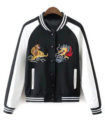 Fashion Buttoned Embroidered Baseball Jacket WHITE AND BLACK M