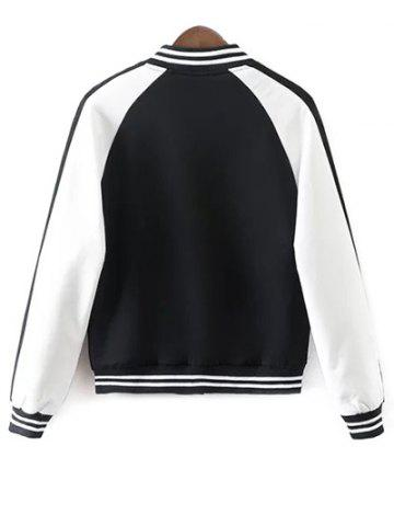 Sale Buttoned Embroidered Baseball Jacket - S WHITE AND BLACK Mobile