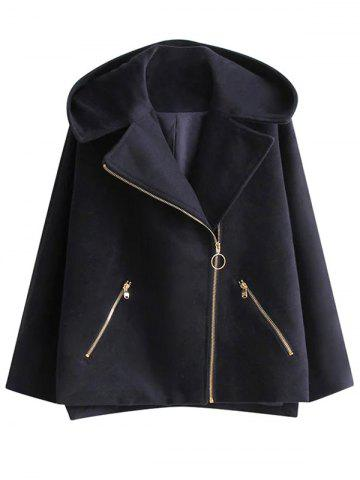 Outfit Hooded Wool Blend Inclined Zipper Coat