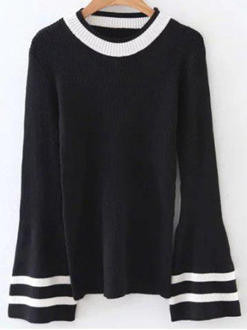 Shop Crew Neck Flare Sleeve Striped Knitwear