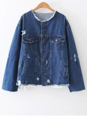 Online Patched Ripped Denim Jacket BLUE L