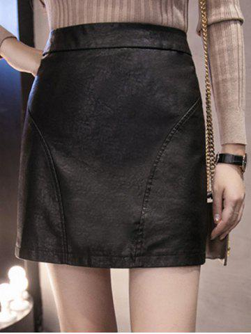 Cheap High Waisted Faux Leather Sheath Skirt BLACK M