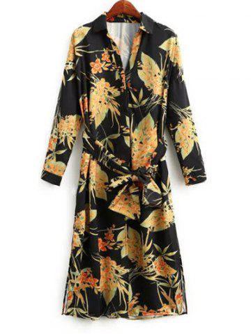 Outfit Long Sleeve Belted Floral Shirt Dress
