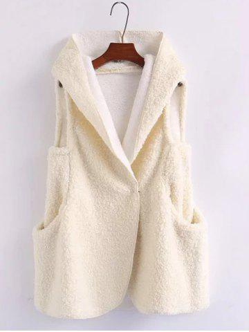 Fancy Pompon Shearling Hooded Vest WHITE ONE SIZE