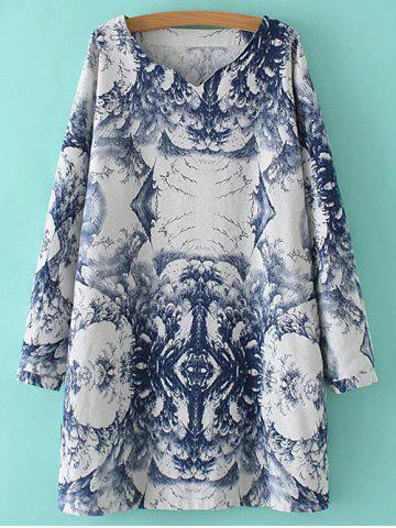 New Long Sleeve Dress With Chinese Painting