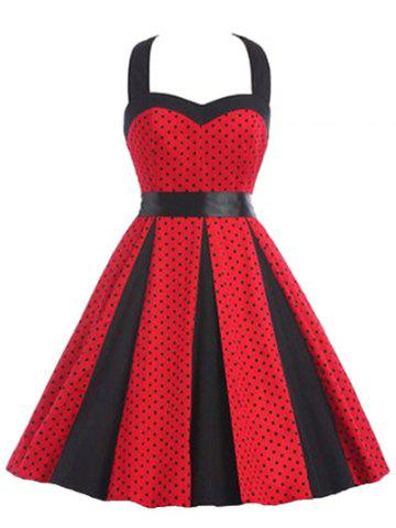 Retro Polka Dot Halter A Line Dress - Red - S
