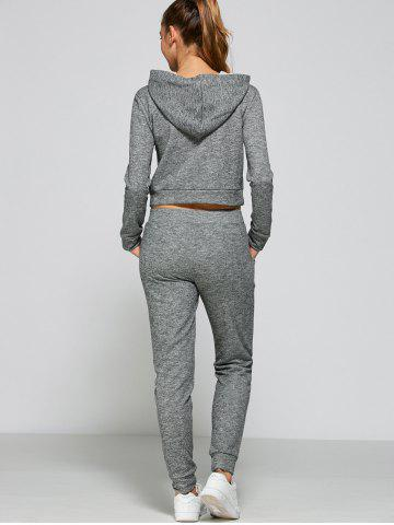 Latest Casual Drawstring Crop Hoodie+Pants - L GRAY Mobile