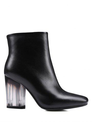 Shops Square Toe Clear Heel Zipper Ankle Boots