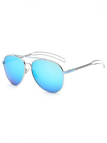 Cool Crossbar Hollow Out Leg Pilot Mirror Sunglasses - ICE BLUE