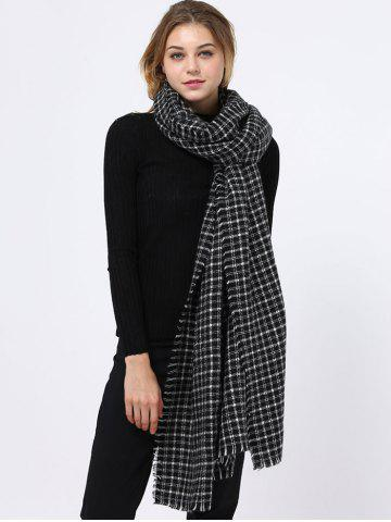 Affordable Outdoor Small Plaid Pattern Fringed Edge Scarf