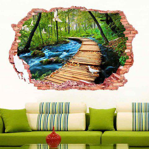 Fashion 3D Stereo Removable Nature Landscape Living Room Wall Stickers - COLORFUL  Mobile