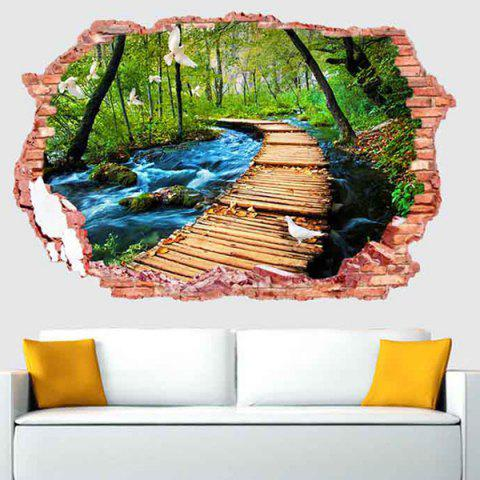 Hot 3D Stereo Removable Nature Landscape Living Room Wall Stickers - COLORFUL  Mobile