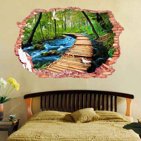 Trendy 3D Stereo Removable Nature Landscape Living Room Wall Stickers - COLORFUL  Mobile