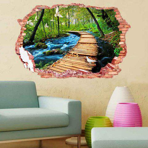 Shops 3D Stereo Removable Nature Landscape Living Room Wall Stickers - COLORFUL  Mobile
