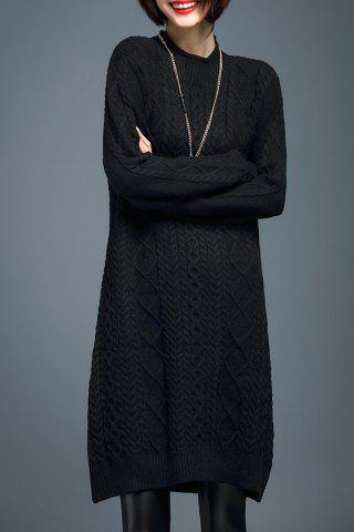Sale Long Sleeve Cable Knit Sweater Dress BLACK M
