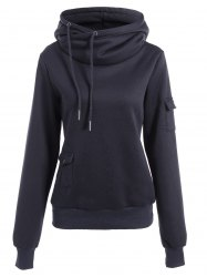 Fashionable Irregular Hooded Solid Color Buttoned Hoodie For Women - DEEP BLUE