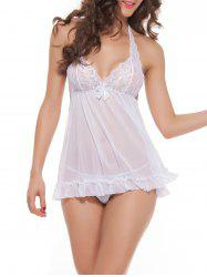 Backless Halter Plunge Tulle Babydoll Sleepwear